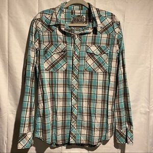 BKE Men's Button Down Shirt Size L Slim Fit EUC